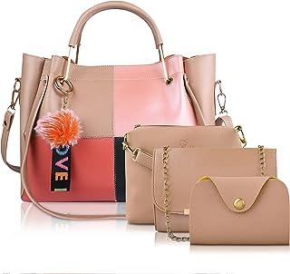 DYMEK Women's PU Leather Handbag, Sling Bag, Clutch & Card Holder With Pom Pom Keychain combo Set of 4