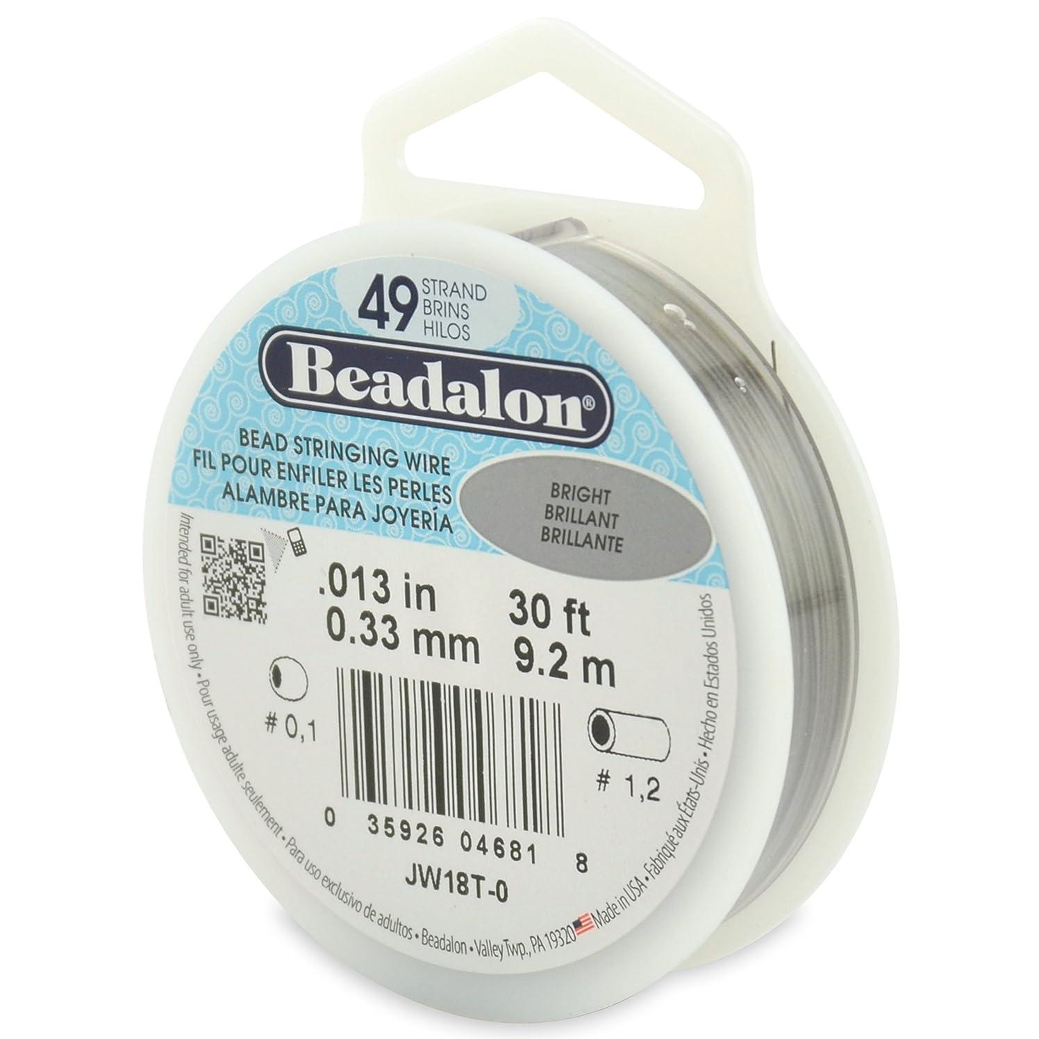 Beadalon 49-Strand Bead Stringing Wire, 0.013-Inch, Bright, 30-Feet