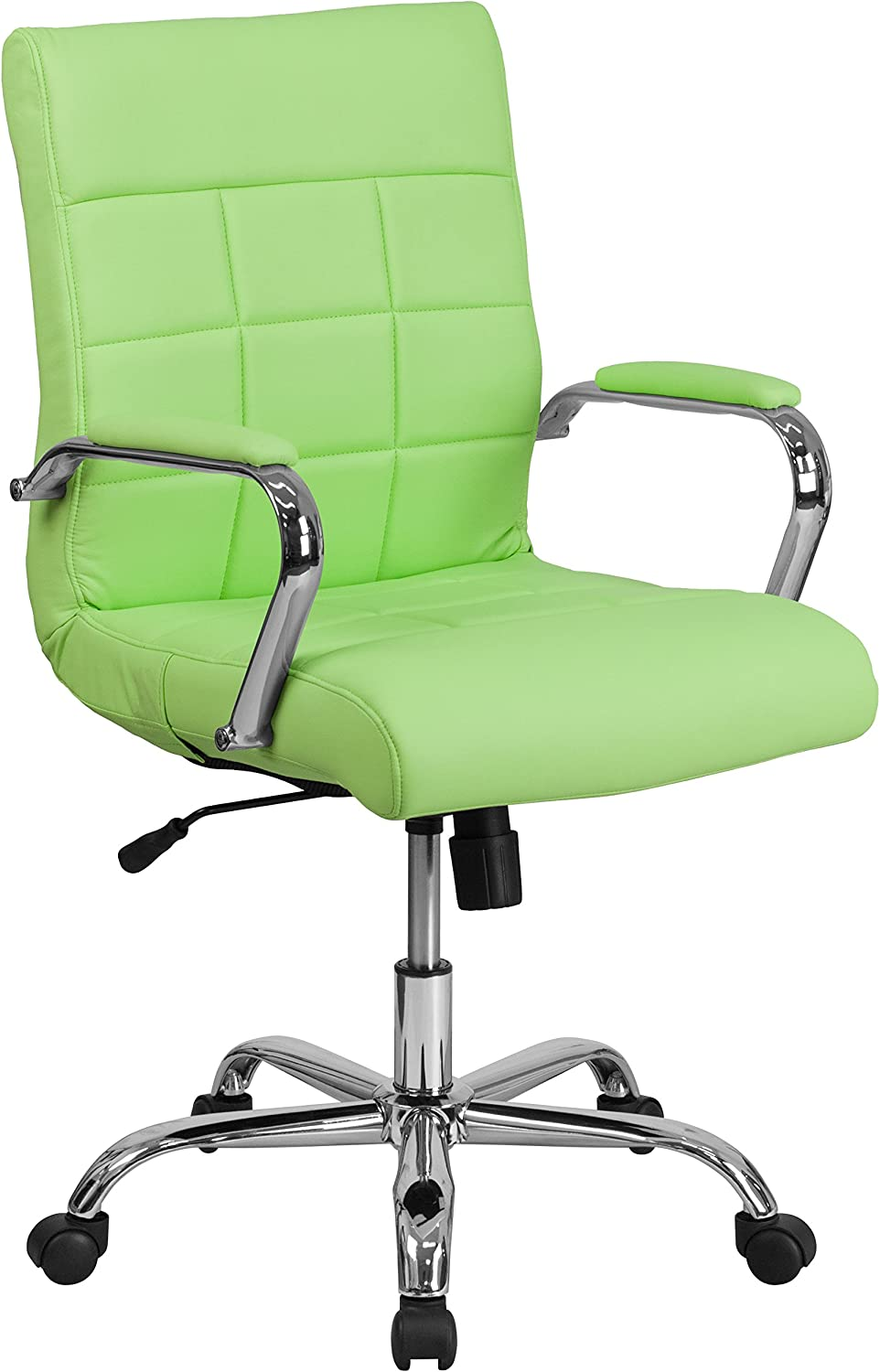 Flash Furniture GO-2240-GN-GG Mid Back Green Vinyl Executive Swivel Office Chair with Chrome Arms