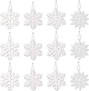 CCINEE 40PC Christmas Glitter Snowflake Ornaments for Christmas Tree Decoration, 4 inch, White