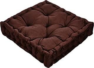 Redearth Velvet Square Floor Cushion- Set of 2 Washable Chair Pads Large Pillows with Handle Flexible Seating for Meditation, Yoga, Outdoor, Home décor, Adults, Kids, Classroom(18x18x4; Brown)