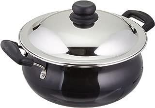 Vinod Pearl Hard Anodised Handi with Stainless Steel Lid, 5 L, Black