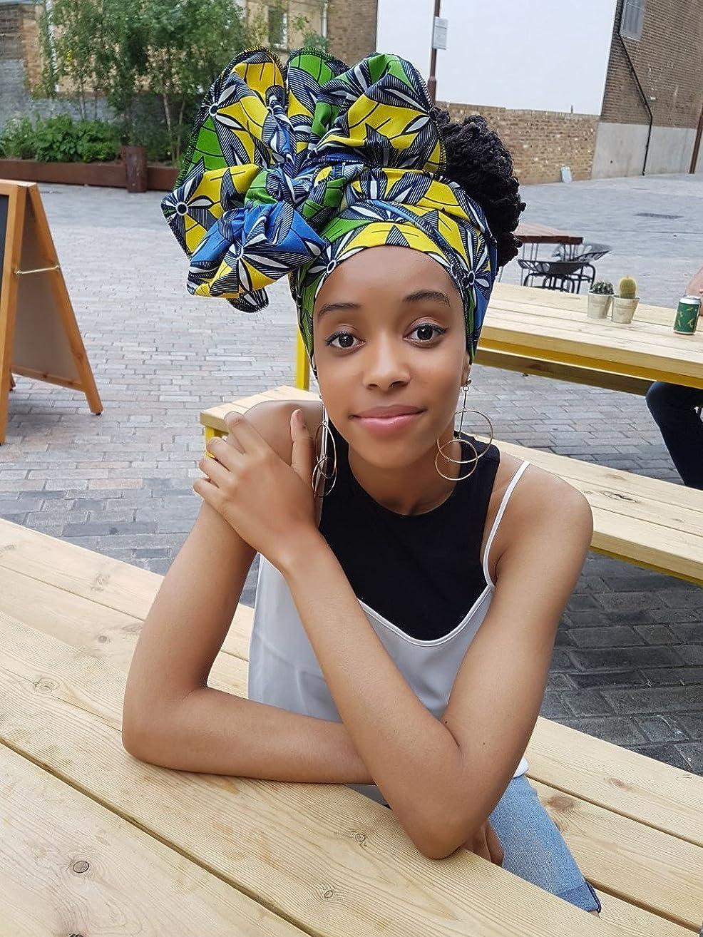 Headwrap / african print headwrap/ turban / Headtie / ankara headscarf / African headtie / wax print headwrap / headscarf - blue and yellow