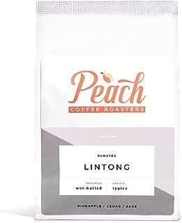 Peach Coffee Roasters - Medium Roast - Sumatra Lintong, Single-Origin Fair Trade Coffee - Wet-Hulled Typica Whole Coffee Beans - 12 oz.
