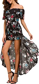 Womens Off Shoulder Short Sleeeve Floral Rayon Party Split Maxi Romper Dress
