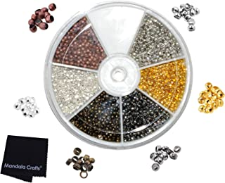 Mandala Crafts Metal Crimp Beads End Spacer Findings Variety Pack Set for Jewelry Making Beading Crafting (Tiny Round 2.5mm 1500 pcs, Silver Gold Antique Bronze Copper Platinum Gunmetal Tone)