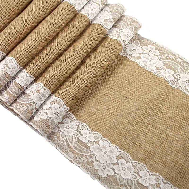 Gerace Mannu Burlap Lace Hessian Table Runner Rustic Natural Jute Country Wedding Party Bridal Shower Babe Shower Dining Table Decoration