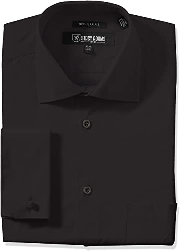 STACY ADAMS Hommes's Adjustable Collar Robe Shirt, noir, 15.5  Neck 32 -33  Sleeve