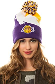 Mitchell & Ness Women's Lakers Paintbrush Pom Beanie