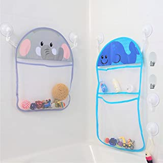 Youngever 2 Pack Bath Toy Organizer with 3M Sticky Hooks and Suction Hooks, Large 14x20 & Medium 12x16, Bath Net for Bathtub Toys and Bathroom Storage, Elephant and Whale Design
