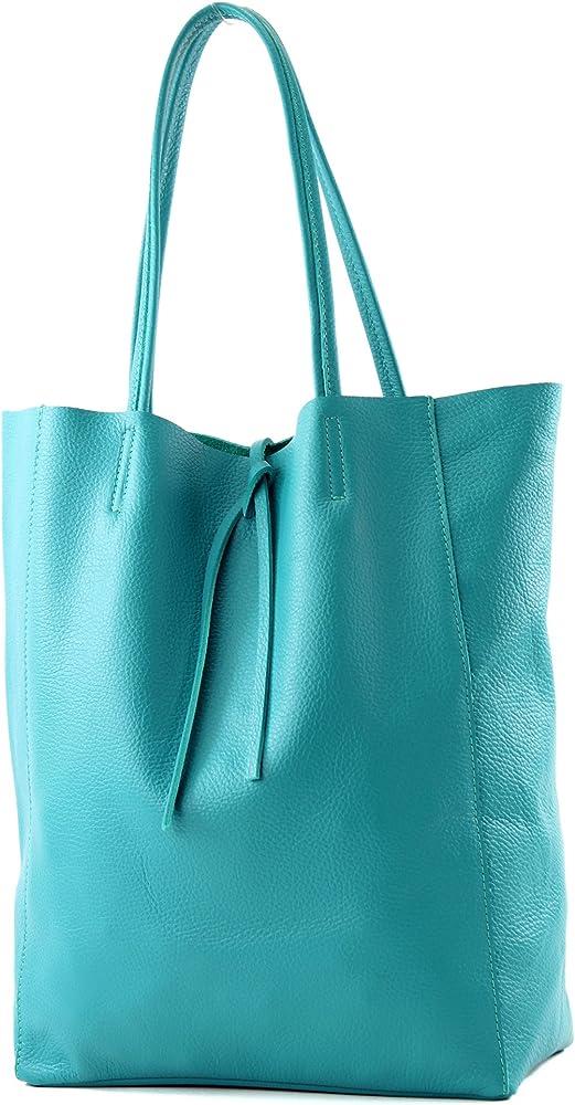 Modamoda de, borsa in pelle, shopper per donna a spalla, turchese T163TKBL