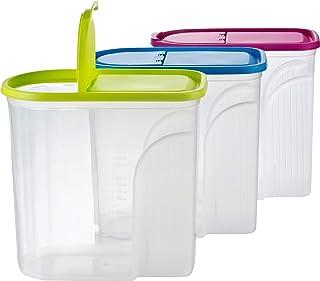 Kigima Müsli Cornflakes Schüttdose große Vorratsdose 5,7 Liter 3er Set grün/blau/pink