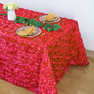 B-COOL Square Rosette Tablecloth Red Colorfast Elegant Difined 3D Linen for Wedding/Party/Birthday/Baby Shower/New Year 90