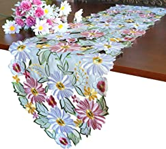 GRANDDECO Spring Daisy Table Runner,Cutwork Embroidered Flowery Table Linen, Home Kitchen Dining Tabletop Decoration, Runn...
