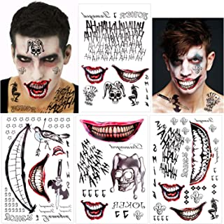 Konsait Large Joker Tattoos Halloween Temporary Tattoos Stickers From Suicide Squad Perfect for Halloween,Cosplay, Costumes and Party Accessories,Halloween Party Favor Supplies Decorations(Pack of 8)