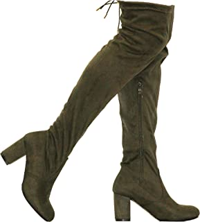 Shoes Womens Stylish Forever Over The Knee Thigh High Low Block Heel