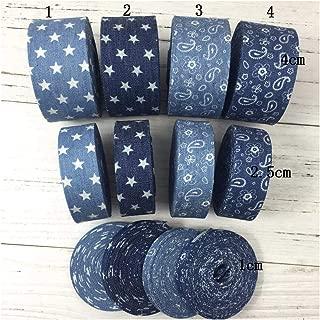 5Meter/Lot 10 25 40Mm Cowboy Paisley Flower Ribbon Jeans Stars Printed Fabric Denim Ribbon DIY Hair Bow God Collar Material