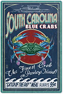 Lantern Press Pawleys Island, South Carolina - Blue Crabs Vintage Sign 36790 (6x9 Aluminum Wall Sign, Wall Decor Ready to Hang)