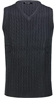 Xposed Mens Classic Cable Knitted Sleeveless V Neck Jumper Smart Casual Sweater Jersey Vest Top