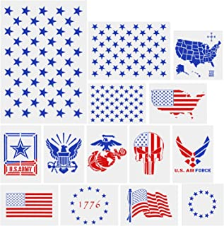 AIEX 14 Pieces American Flag Stencil Templates Stencils for Painting on Wood 50 Stars, Map, Air Force, Bald Eagle Stencil Reusable Art Craft Stencils