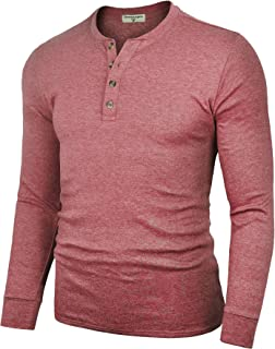 Men's Henley Cotton Casual Long Sleeve Lightweight Basic Thermal T-Shirts