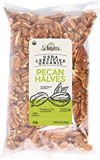 La Nogalera Pecans - Fresh Crop of USDA Certified Organic Halves in 2 lbs hefty bag. Pecan nut halves, NO SHELL, Non-GMO, No Preservatives, Unpasteurized, Kosher and Halal Certified