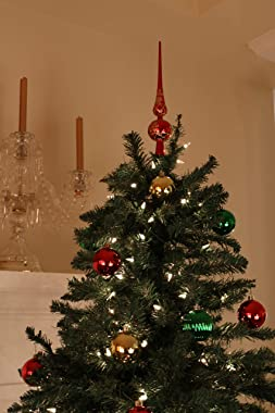 Clever Creations Christmas 11 Inch Ariadne Tree Topper Shiny Crystal Decoration, Glitter Treetop Holiday Home Décor, Red