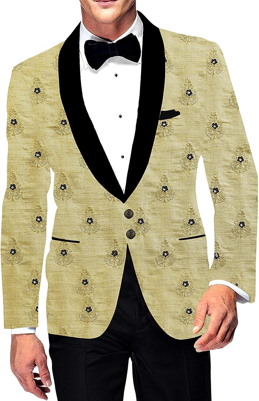 INMONARCH Mens Embroidered Sport Two Button Slim fit Blazer Shawl Lapel Golden Jacket Coat SB19408XL52 52 X-Long Golden