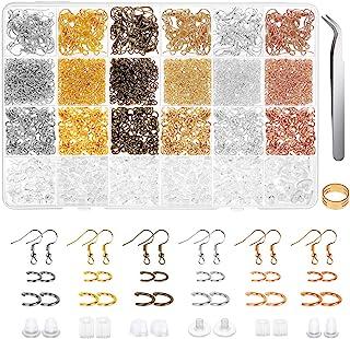 Earring Hooks, Anezus 1900Pcs Earring Making Supplies Kit with Fish Hook Earrings, Earring Backs, Jump Rings for Jewelry M...