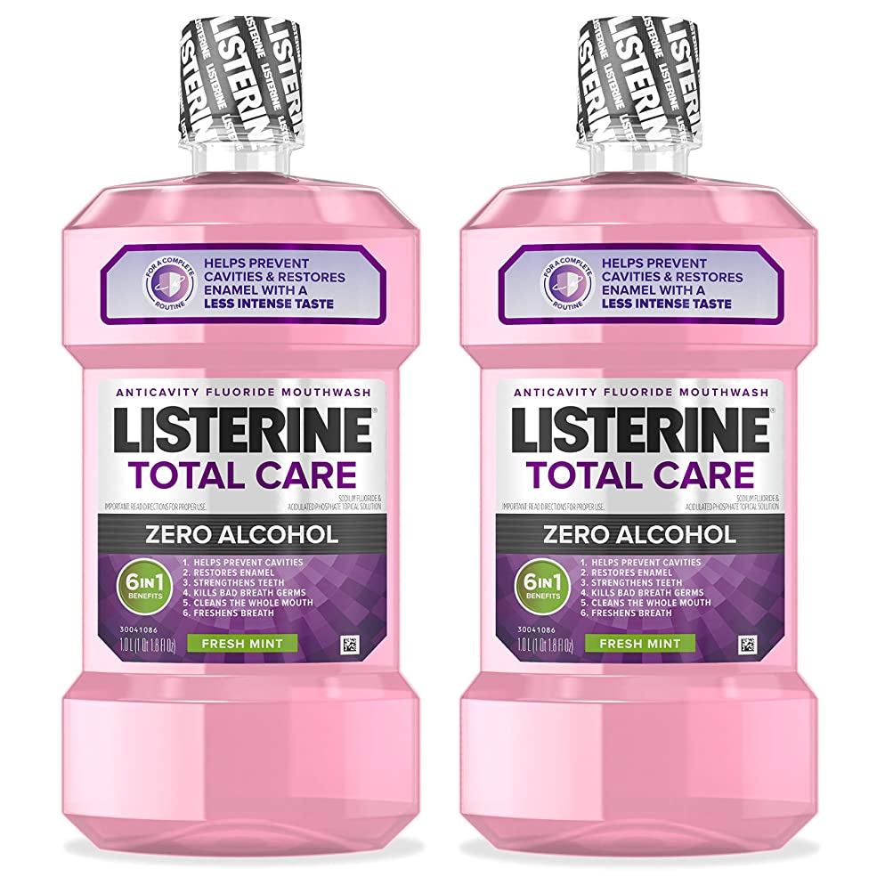 Listerine Total Care Alcohol-Free Anticavity Mouthwash, 6 Benefit Fluoride Mouthwash for Bad Breath and Enamel Strength, Fresh Mint 1L, (Pack of 2)