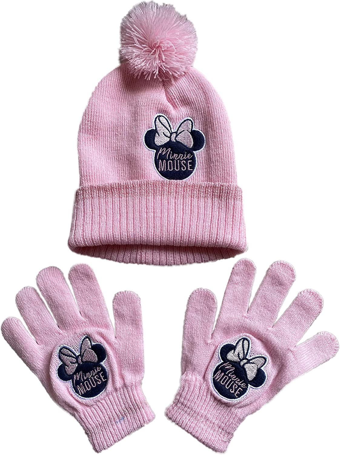 Minnie Mouse Girls Bobble Hat & Gloves Set, Thermal Pink Pom Pom Beanie Hat and Mittens Cold Weather Set