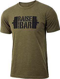 Raise The Bar - Military Green - Men's Barbell Weightlifting Triblend Workout T-Shirt