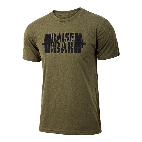 7d24d1161d5f01 Jumpbox Fitness Raise The Bar - Military Green - Men s Barbell  Weightlifting Triblend Workout T-