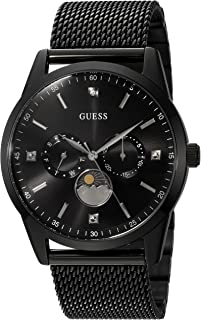 GUESS Black Ionic Plated Mesh Bracelet Watch with Genuine Diamond, Day, Date + Moonphase. Color: Black (Model: U0869G1)