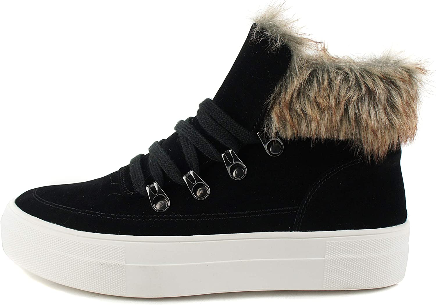 Soda Style Fury – Flossie Faux Fur Fashion High Top Sneaker Bootie with Lace up