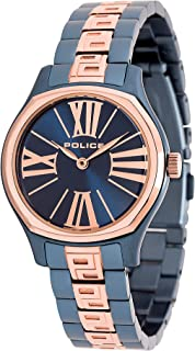 Police Bennet Analogue Blue Case, Drk Blue Dial And Blue And Rose Gold Watch For Women - PL 14991LSRBL-03M