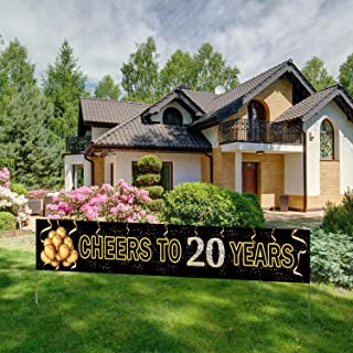 Large Cheers to 20 Years Banner, Black Gold 20 Anniversary Party Sign, 20th Happy Birthday Banner(9.8feet X 1.6feet)