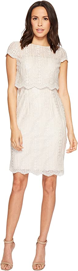 Adrianna Papell Short Lace and Sequin Pop Over Top Cocktail Dress