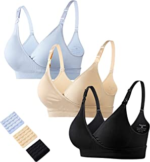 a3f5183d469 Natuloth Women s Wireless and Seamless Crossover Maternity Nursing Bras for  Breastfeeding with Extenders   Pads