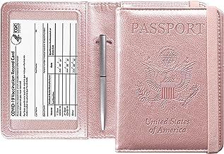 ترکیبی دارنده کارت پاسپورت و واکسن ACdream ، قاب جلد با شکاف کارت واکسیناسیون CDC ، محافظ سازماندهی اسناد چرمی سفر ، با مسدود کردن RFID ، برای زنان و مردان ، رزگلد