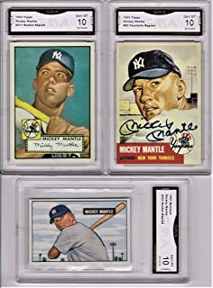 MICKEY MANTLE 1952 TOPPS, 1951 BOWMAN, 1953 TOPPS CARDS GMA GRADED GEM MT 10, PERFECT SAVE $$$ WHEN YOU BUY IN QUANTITY