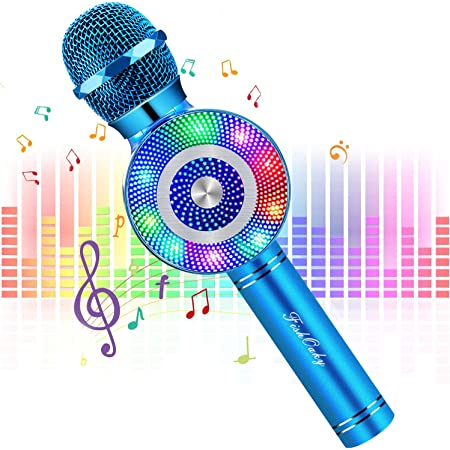 FISHOAKY Mircophone Karaoke sans Fil, 4 en 1 Portable Micro Karaoké Bluetooth pour Enfants Adultes Chanter, Fête, Enregistrement, Compatible avec Android iOS Smartphone