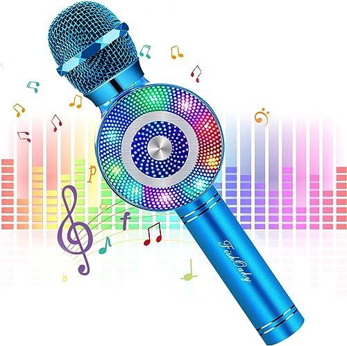 FISHOAKY Mircophone Karaoke sans Fil, 4 en 1 Portable Micro Karaoké Bluetooth pour Enfants Adultes Chanter, Fête, Enr...