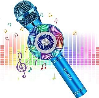 FishOaky Wireless Bluetooth Karaoke Microphone, Portable Kids Microphone Karaoke Player Speaker with LED & Music Singing V...