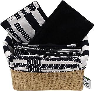 POROPANGO Coffret Lingettes demaquillantes lavables reutilisables Coton et Eponge de bambou certifie premium oeko-tex avec...