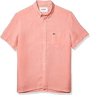 Lacoste メンズ 半袖 レギュラーフィット リネン ボタンダウンシャツ