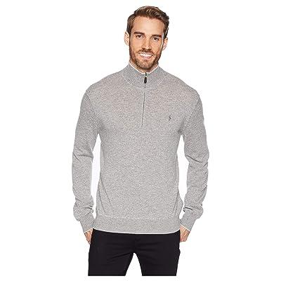 Polo Ralph Lauren Washable Cashmere 1/2 Zip Sweater (School Uniform Grey Heather) Men