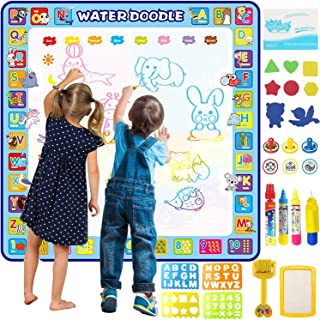 Apsung Large Aqua Doodle Mat,100 x 100 cm Extra Large Water Drawing Doodling Mat Coloring Mat Educational Toys Gifts for K...