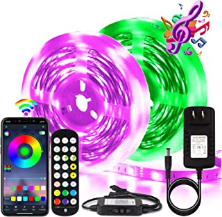 BIHRTC RGB Led Strip Lights 50ft Led Music Sync Color Changing Lights with Music Remote Controller and Power Supply 5050 1...