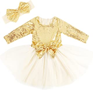 Cilucu Flower Girls Dresses Toddlers Birthday Party Princess Dress Sequin Tutu Prom Gown Long Sleeve Gold